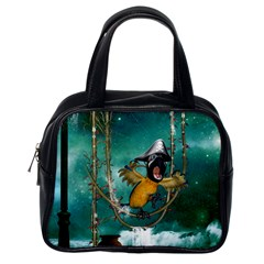 Funny Pirate Parrot With Hat Classic Handbags (one Side)