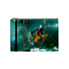 Funny Pirate Parrot With Hat Cosmetic Bag (medium)