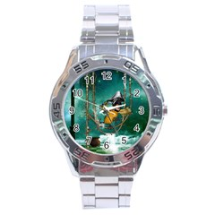 Funny Pirate Parrot With Hat Stainless Steel Analogue Watch