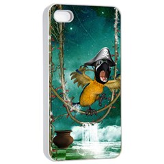 Funny Pirate Parrot With Hat Apple Iphone 4/4s Seamless Case (white)