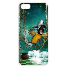 Funny Pirate Parrot With Hat Apple Iphone 5 Seamless Case (white)
