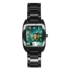 Funny Pirate Parrot With Hat Stainless Steel Barrel Watch
