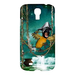 Funny Pirate Parrot With Hat Samsung Galaxy S4 I9500/i9505 Hardshell Case
