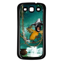 Funny Pirate Parrot With Hat Samsung Galaxy S3 Back Case (black)