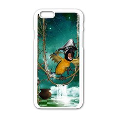 Funny Pirate Parrot With Hat Apple Iphone 6/6s White Enamel Case