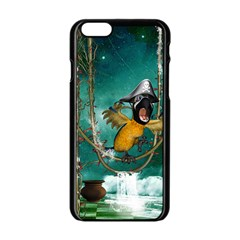 Funny Pirate Parrot With Hat Apple Iphone 6/6s Black Enamel Case