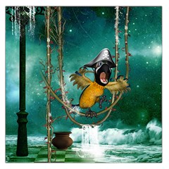 Funny Pirate Parrot With Hat Large Satin Scarf (square)