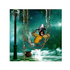 Funny Pirate Parrot With Hat Small Satin Scarf (square)
