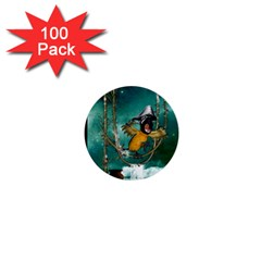 Funny Pirate Parrot With Hat 1  Mini Buttons (100 Pack)