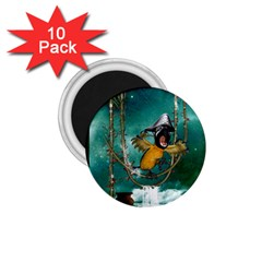 Funny Pirate Parrot With Hat 1 75  Magnets (10 Pack)