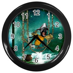 Funny Pirate Parrot With Hat Wall Clocks (black)