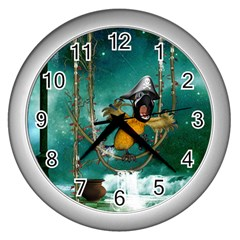 Funny Pirate Parrot With Hat Wall Clocks (silver)