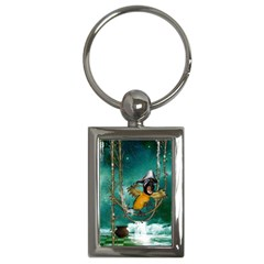 Funny Pirate Parrot With Hat Key Chains (rectangle)