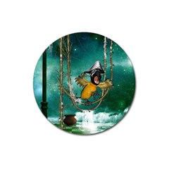 Funny Pirate Parrot With Hat Magnet 3  (round)