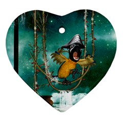 Funny Pirate Parrot With Hat Heart Ornament (two Sides)