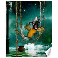 Funny Pirate Parrot With Hat Canvas 16  X 20