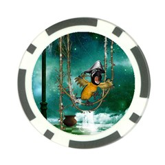 Funny Pirate Parrot With Hat Poker Chip Card Guard
