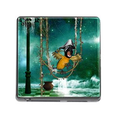Funny Pirate Parrot With Hat Memory Card Reader (square)