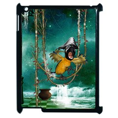 Funny Pirate Parrot With Hat Apple Ipad 2 Case (black)