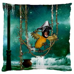 Funny Pirate Parrot With Hat Large Cushion Case (two Sides)