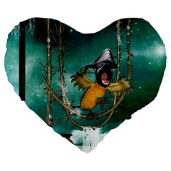 Funny Pirate Parrot With Hat Large 19  Premium Heart Shape Cushions