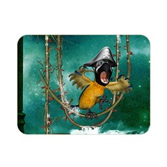 Funny Pirate Parrot With Hat Double Sided Flano Blanket (mini)