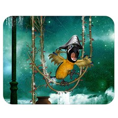 Funny Pirate Parrot With Hat Double Sided Flano Blanket (medium)