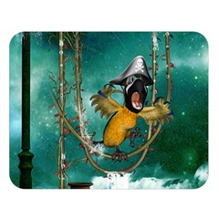 Funny Pirate Parrot With Hat Double Sided Flano Blanket (large)