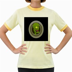 Zombie Pictured Illustration Women s Fitted Ringer T Shirts
