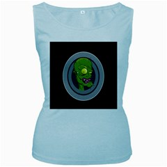 Zombie Pictured Illustration Women s Baby Blue Tank Top