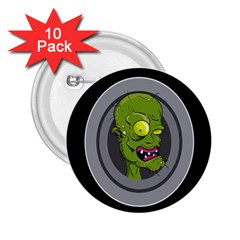 Zombie Pictured Illustration 2 25  Buttons (10 Pack)
