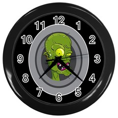 Zombie Pictured Illustration Wall Clocks (black)