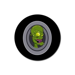 Zombie Pictured Illustration Rubber Round Coaster (4 Pack)