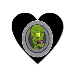 Zombie Pictured Illustration Heart Magnet