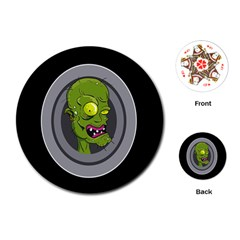 Zombie Pictured Illustration Playing Cards (round)