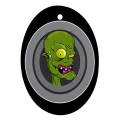 Zombie Pictured Illustration Oval Ornament (two Sides)