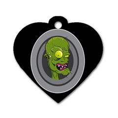Zombie Pictured Illustration Dog Tag Heart (one Side)