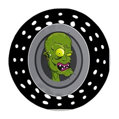 Zombie Pictured Illustration Round Filigree Ornament (two Sides)