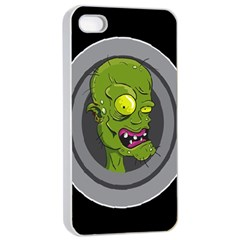 Zombie Pictured Illustration Apple Iphone 4/4s Seamless Case (white)
