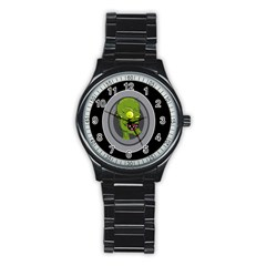 Zombie Pictured Illustration Stainless Steel Round Watch