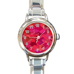 Red Background Pattern Square Round Italian Charm Watch