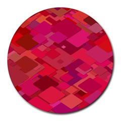 Red Background Pattern Square Round Mousepads