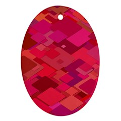 Red Background Pattern Square Ornament (oval)