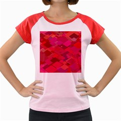 Red Background Pattern Square Women s Cap Sleeve T Shirt