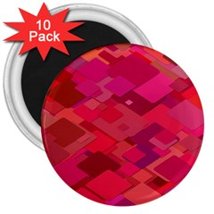 Red Background Pattern Square 3  Magnets (10 Pack)