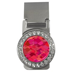Red Background Pattern Square Money Clips (cz)