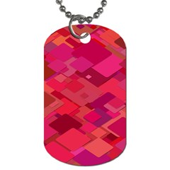 Red Background Pattern Square Dog Tag (one Side)