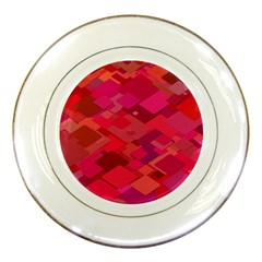 Red Background Pattern Square Porcelain Plates