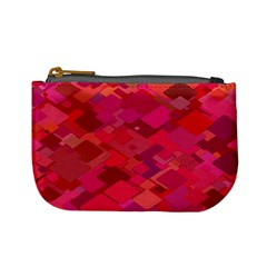 Red Background Pattern Square Mini Coin Purses