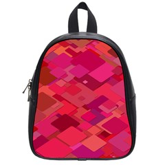 Red Background Pattern Square School Bag (small)